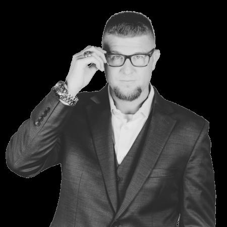image - BW holding glasses